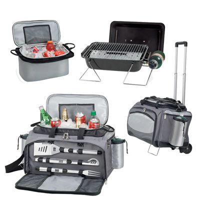 Picnic Time Vulcan Tailgating Cooler and Propane BBQ Set with Trolley