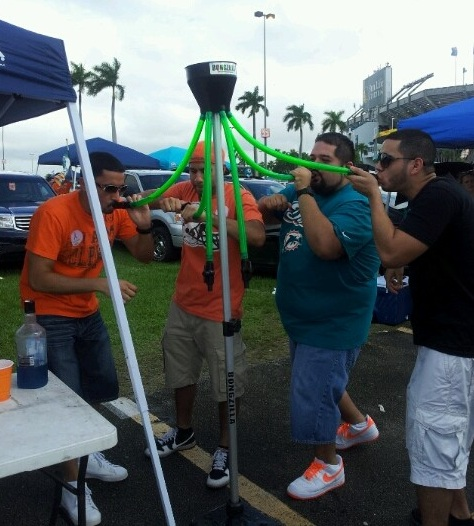 Miami Dolphin fans do a Bongzilla outside Sunlife Stadium