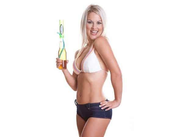 Hot girl bikini top holding a Bottle Beer Bong