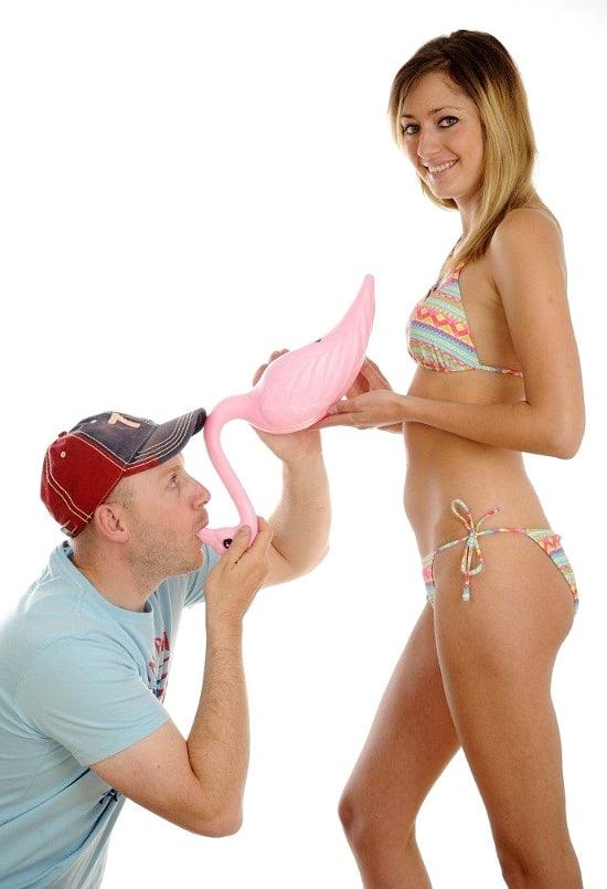 Flamingo Beer Bong Guy and Girl