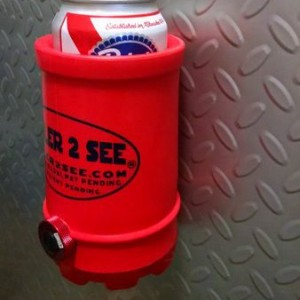 Red Cooler2See on a metal wall