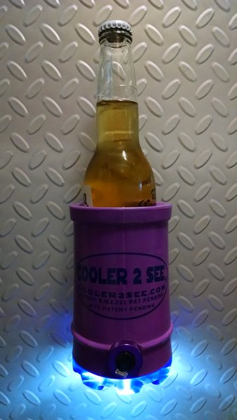 Purple Cooler2See on a metal wall