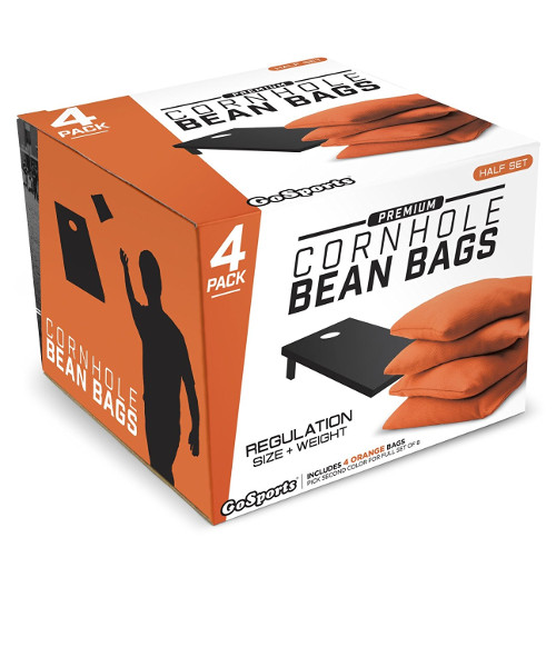 Orange cornhole bags retail box
