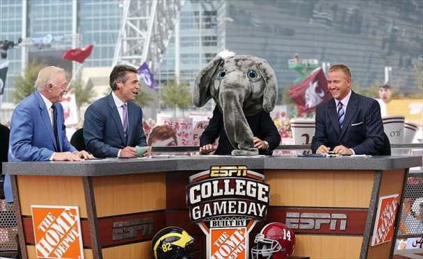 Lee Corso with Alabama head gear pick