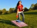 GoPong American Flag Cornhole Girl