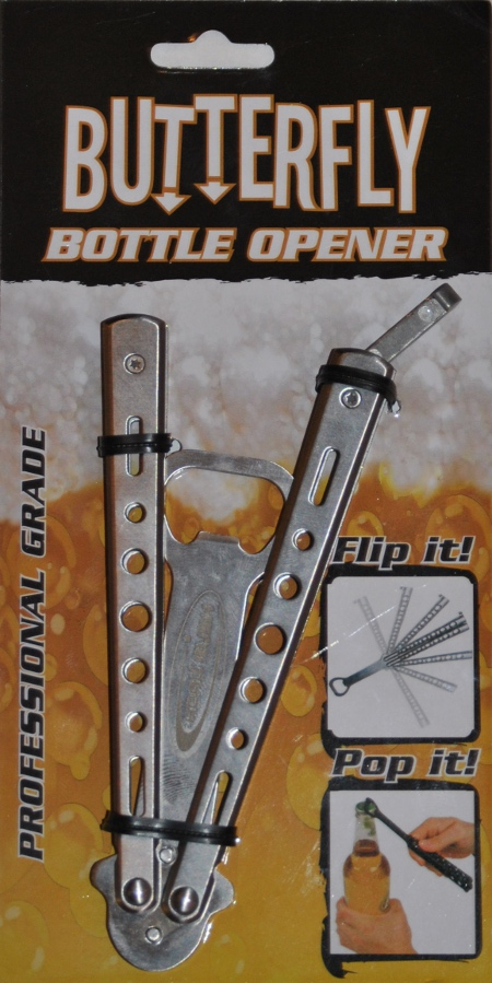 Butterfly Knife Bottle Opener Card