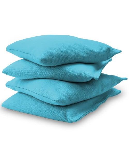 Light Blue Cornhole bags stacked