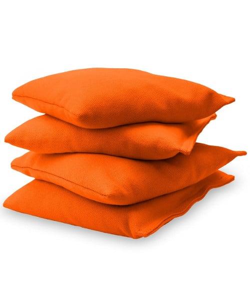 Orange Cornhole bags stacked