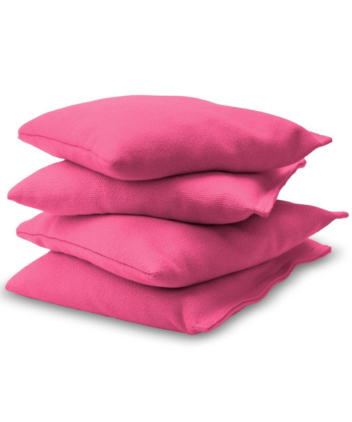 Pink Cornhole bags stacked