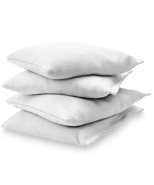 White Cornhole bags stacked