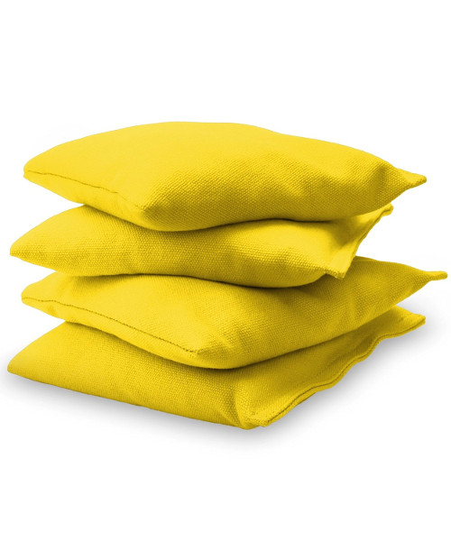 Yellow Cornhole bags stacked